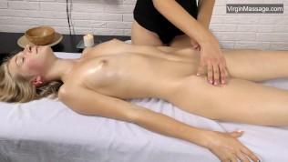 Super hot russian blondie Lizka with small tits massaged